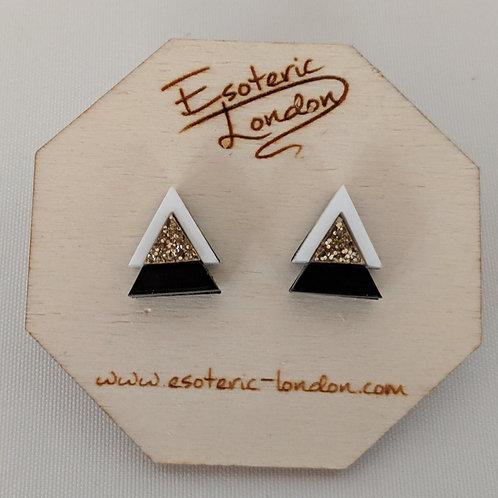 Esoteric Sparkle Triangle Stud Earrings