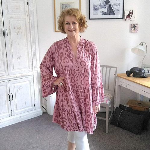 Pink Animal Print Gypsy Dress