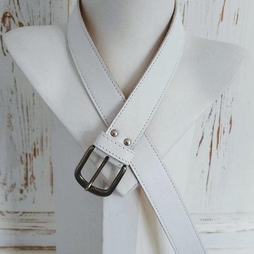Plain White Leather Belt