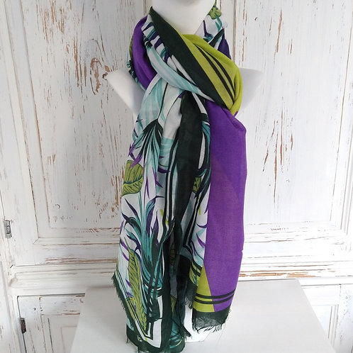 Jungle Leaf Pattern with Green & Purple Scarf