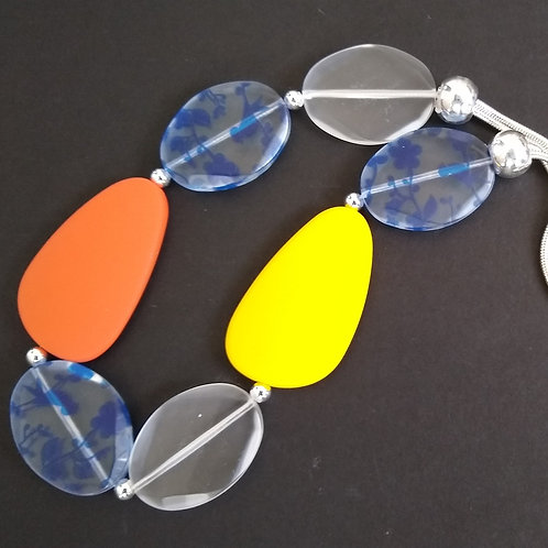 JCUK Yellow, rust, clear and blue pebble Necklace