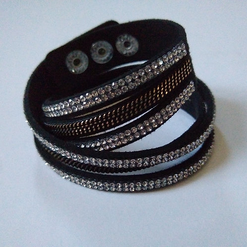 Wrist Wrap Black with Double Layer of Crystals