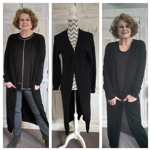 Long Black Open Cardigan