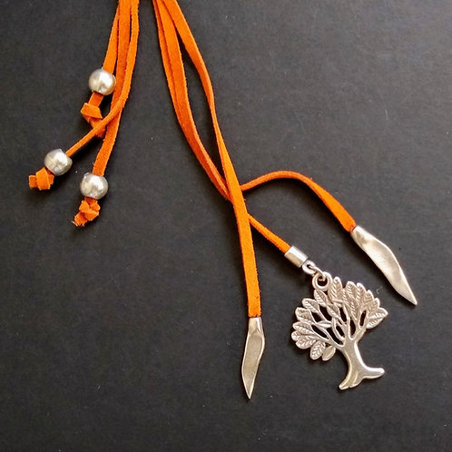 Hatti Long Suede Tree of Life Necklace