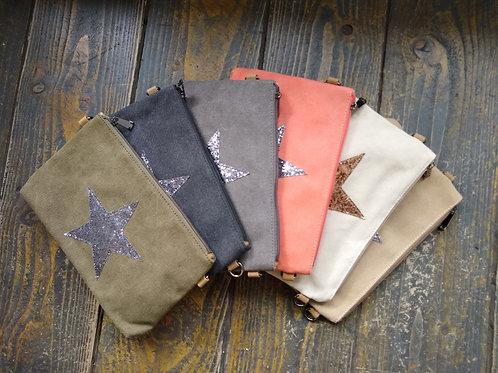 Canvas Star Clutch Bag