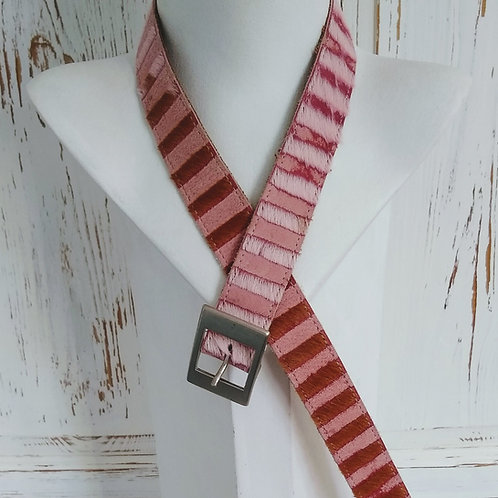 Pink Stripe Effect Leather Belt