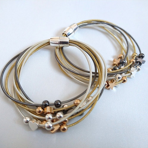 Metal Coil Mixed Charm Magnetic Bracelet