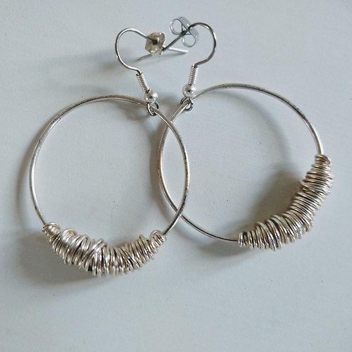 Black & Sigi Gold Wound Silver Earrings