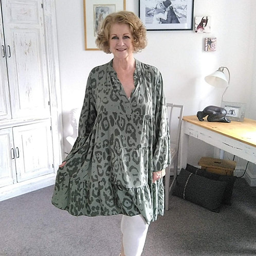 Green Animal Print Gypsy Dress