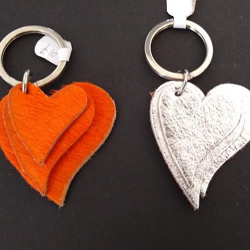 Leather Triple Heart Key Rings