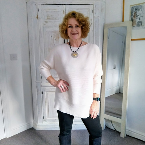 Relaxed Neck Ribbed Cream Jumper by Alpini