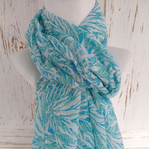 Turquoise Flower Pattern Scarf