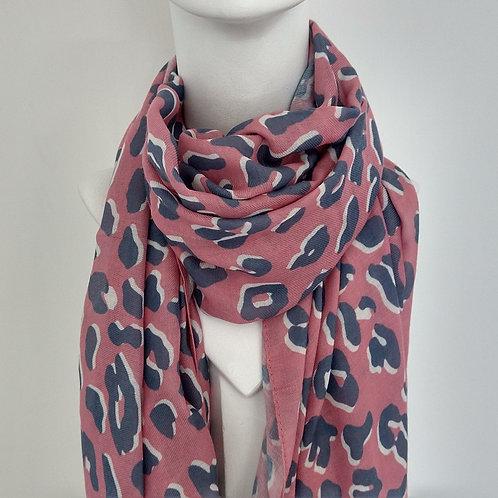 Pink & Grey Anomal Print Scarf