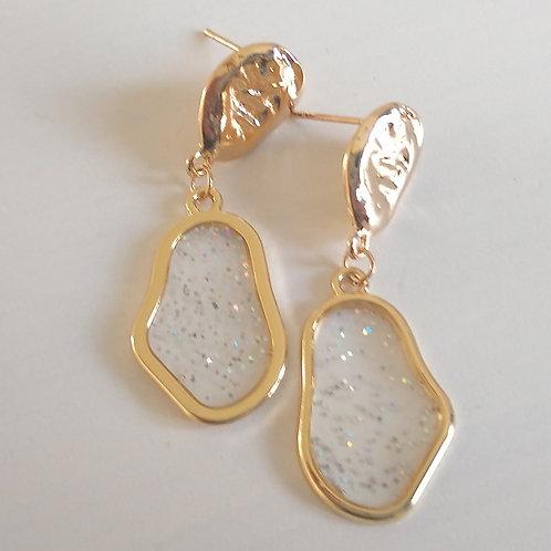 Sparkle Resin & Gold Earrings
