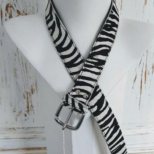 Zebra Stripe Faux Fury Leather Belt