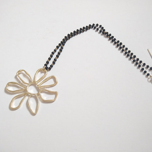 Gold Flower on Black Bead Chain.