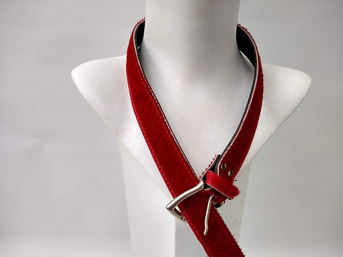 Red Faux Pony Effect Leather Belt