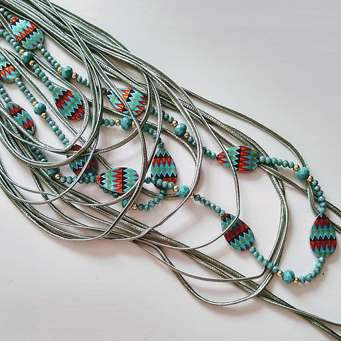 Envy Multi Strand Silk and Beaded Long Necklace