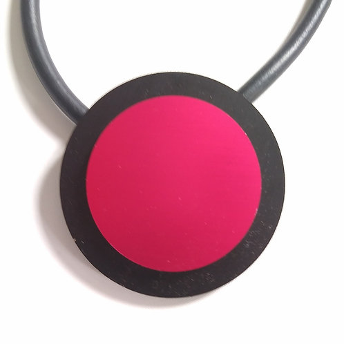 Rubber Red Disc Short Necklace