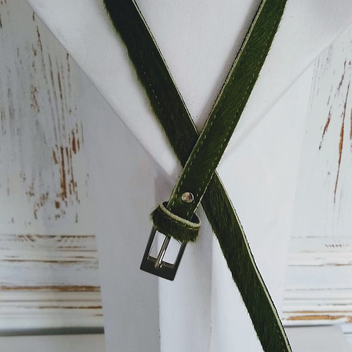 Dark Green Faux Pony Effect Leather Belt