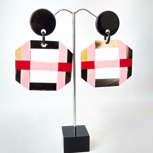Acrylic Gingham Earrings