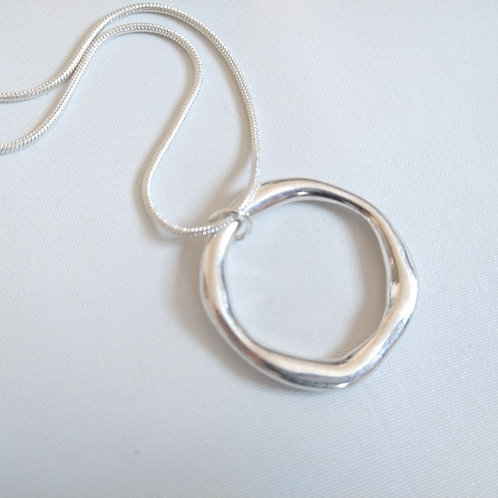 Silver Mis-Shaped Ring Necklace on Snake Chain
