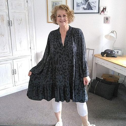 Grey Animal Print Gypsy Dress