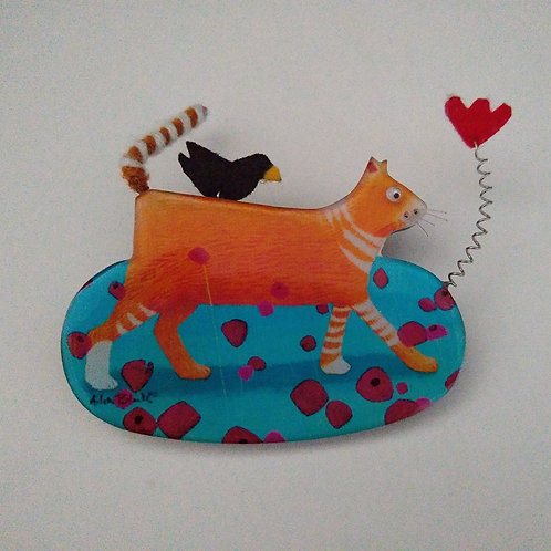 Cat and Bird Brooch