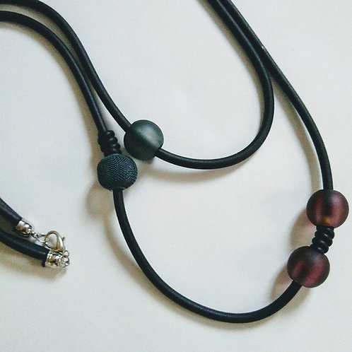 Double Loop Long Rubber and Opaque Bead Necklace