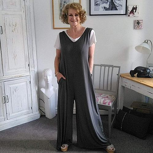 Grey Stretch Cotton Jersey Jumpsuit