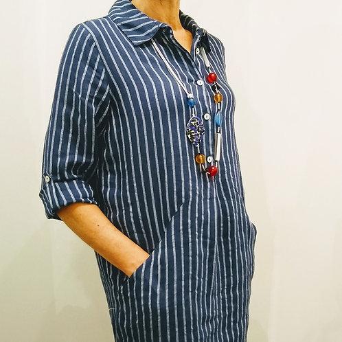 Pomodoro Stripe Linen Dress