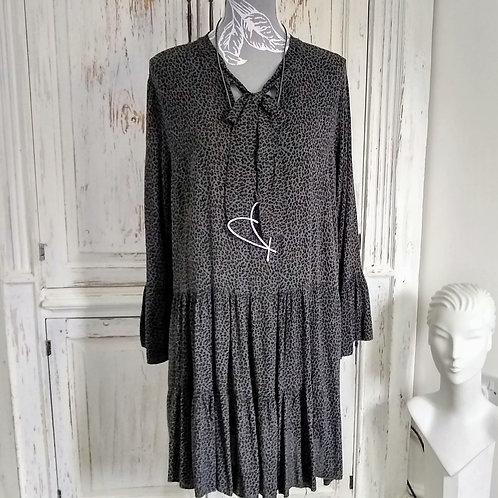 Leopard Print Peasant Dress