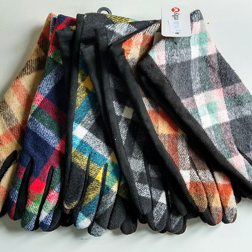 Check Pattern Stretchy Gloves