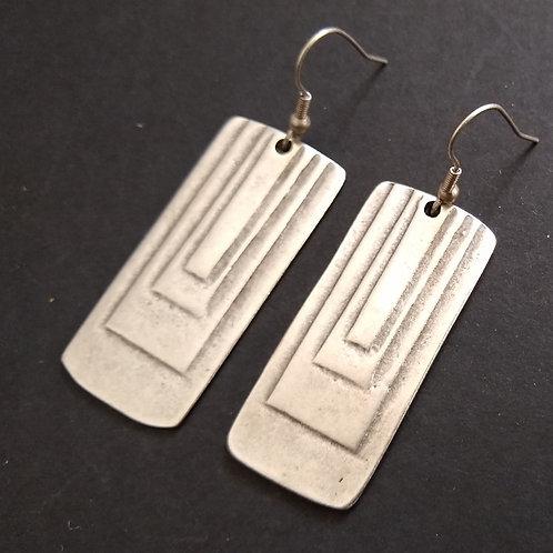 Hatti Smaller Panel Metal Earrings