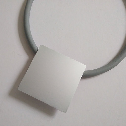 Soft Grey Aluminium Rubber Necklace