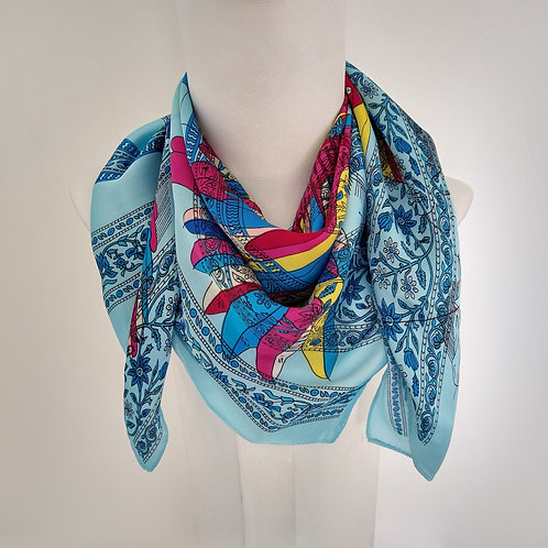 Silk Feel  Winged Horse Blue Scarf