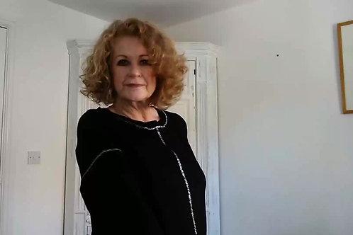 Valentina Sundae Tee Black Lurex Trim Top