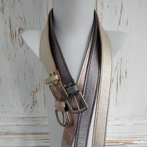 Metalic Medium Width Leather Belts