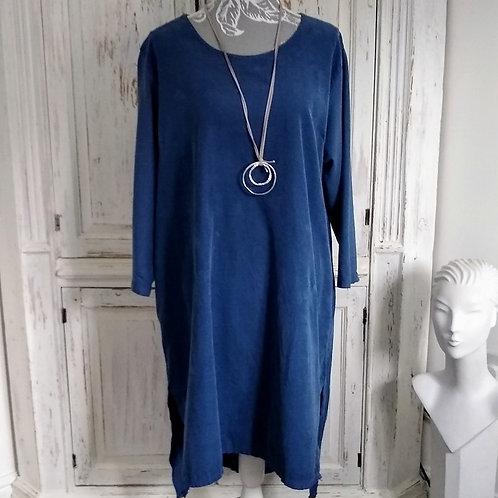 Denim Blue Needlecord Button Back Dress