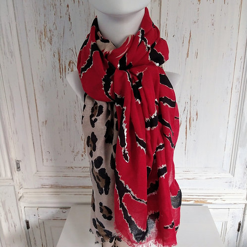 Foil and Animal Print Scarf