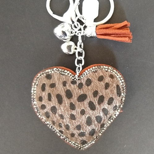 Furry Cheetah Heart bag charm Key Ring