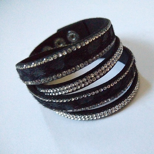 Wrist Wrap Black with Crystals and Snake Effect