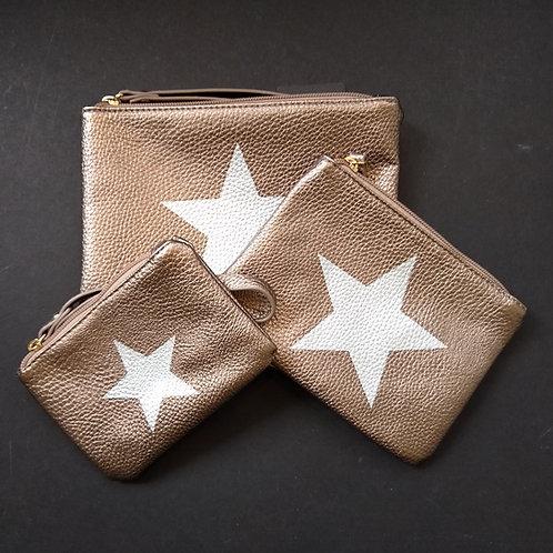 Bronze PU Star bags.