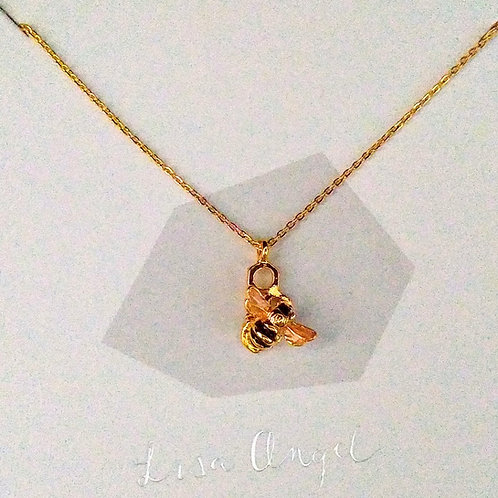 Tiny Gold Bee Short Necklace