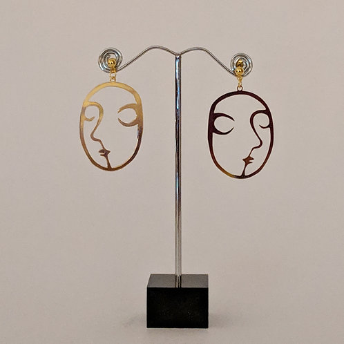Structured Face Earrings
