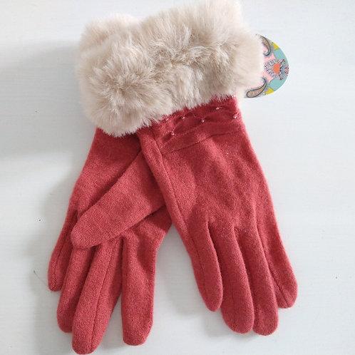 Powder Fluff Cuff Wool Gloves