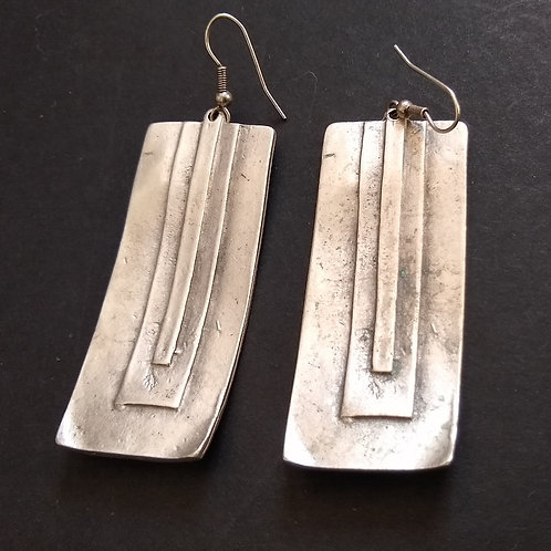Hatti Long Panel Metal Earrings