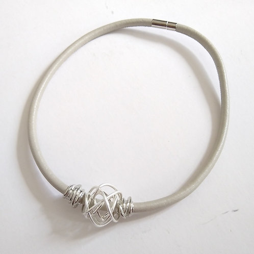 Strata Wire Wrap on Leather Necklace