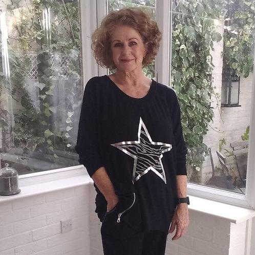 Zebra Star Print Sweatshirt