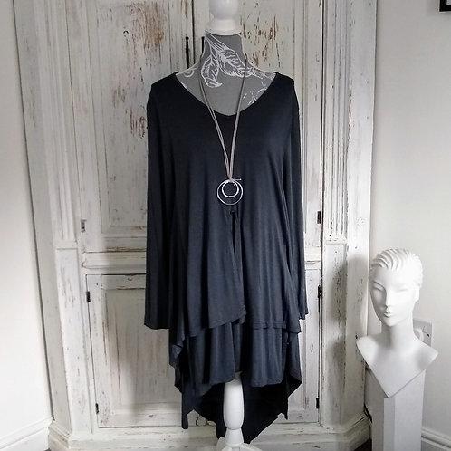 Layered Asymmetric Grey Dress